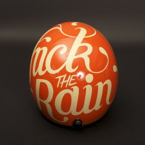 fuck the rain orange helmet