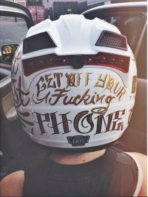 get off your fucking phone white full helmet