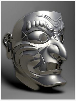 japanese mask 3d helmet concept
