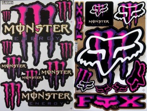 pink monster stickers decals motorcycle graphic kit