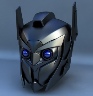 robot head metallic helmet
