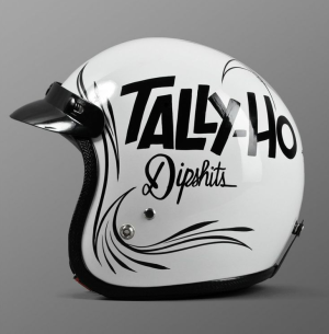tally ho dipshits white and black helmet